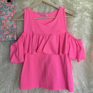 Lilly Pulitzer Tops - LILLY PULITZER BRIGHT PINK RUFFLE COLD SHOULDER M